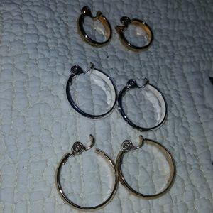 3 pair Monet hoop earrings and  monet necklace